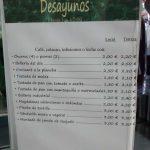 Carta Desayunos El Romero Vicálvaro