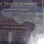 Menú desayunos La Tradicional Tetuán Madrid