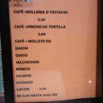 Precios Desayunos El Rincón de Pardiñas Madrid